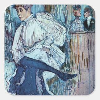 Henri de Toulouse-Lautrec- Jane Avril Dancing Square Stickers