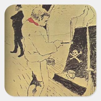 Henri de Toulouse-Lautrec: The Last Drop Square Stickers