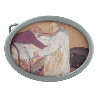 Henri de Toulouse-Lautrec-Two Women Making the Bed Oval Belt Buckle