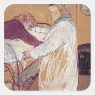 Henri de Toulouse-Lautrec-Two Women Making the Bed Square Sticker