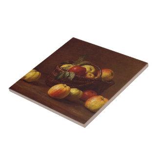 Henri Fantin-Latour- Apples in a Basket on a Table Ceramic Tiles