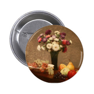 Henri Fantin-Latour- Asters and Fruit on a Table Pinback Buttons