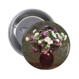 Henri Fantin-Latour- Asters in a Vase Buttons