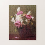 "Henri Fantin-Latour Peonies and Roses Puzzle<br><div class=""desc"">Henri Fantin-Latour Peonies and Roses puzzle. French artist Henri Fantin-Latour is one of the great master flower painters of Western art. White Peonies, Roses and Narcissus depicts a bouquet of flowers in a purple vase with light green background. The blossoms of the flowers are allfresh and vibrant and a few...</div>"