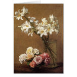 Henri Fantin-Latour Roses and Lilies Greeting Card