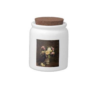 Henri Fantin-Latour-Roses in a White Porcelin Vase Candy Jars