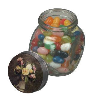 Henri Fantin-Latour-Roses in a White Porcelin Vase Jelly Belly Candy Jar
