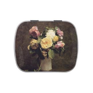Henri Fantin-Latour-Roses in a White Porcelin Vase Candy Tins