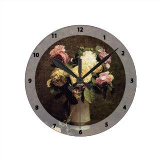 Henri Fantin-Latour-Roses in a White Porcelin Vase Round Clock