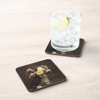 Henri Fantin-Latour-Roses in a White Porcelin Vase Beverage Coasters