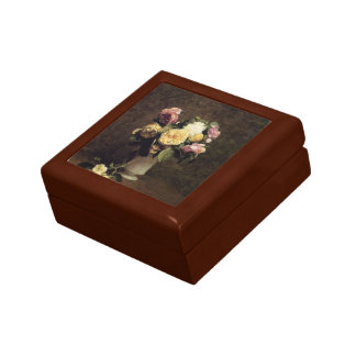 Henri Fantin-Latour-Roses in a White Porcelin Vase Keepsake Box