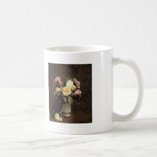 Henri Fantin-Latour-Roses in a White Porcelin Vase Coffee Mug