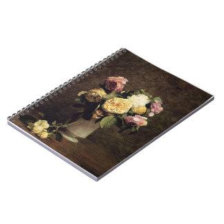Henri Fantin-Latour-Roses in a White Porcelin Vase Spiral Notebooks