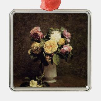 Henri Fantin-Latour-Roses in a White Porcelin Vase Christmas Ornaments