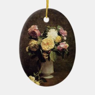 Henri Fantin-Latour-Roses in a White Porcelin Vase Christmas Ornament