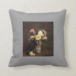 Henri Fantin-Latour-Roses in a White Porcelin Vase Throw Pillow