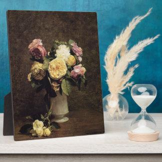 Henri Fantin-Latour-Roses in a White Porcelin Vase Photo Plaque