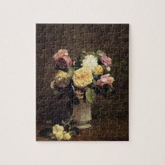 Henri Fantin-Latour-Roses in a White Porcelin Vase Puzzle