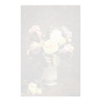 Henri Fantin-Latour-Roses in a White Porcelin Vase Stationery Design