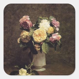 Henri Fantin-Latour-Roses in a White Porcelin Vase Sticker