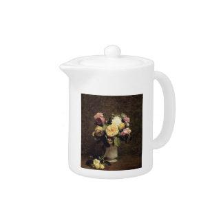 Henri Fantin-Latour-Roses in a White Porcelin Vase