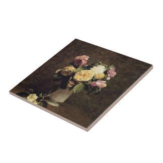 Henri Fantin-Latour-Roses in a White Porcelin Vase Ceramic Tile
