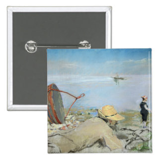 Henri Guerard Relaxing on the Beach (pastel on can 2 Inch Square Button