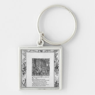 Henri IV  King of France and Navarre teaching Silver-Colored Square Keychain