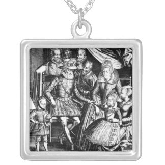 Henri IV  King of France with his Family Silver Plated Necklace
