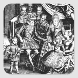 Henri IV  King of France with his Family Square Sticker