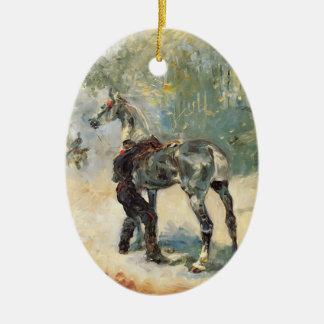 Henri Lautrec- Artilleryman Saddling His Horse Christmas Ornament