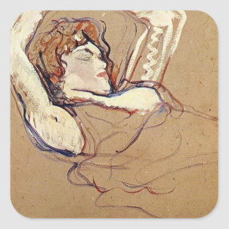 Henri Lautrec- Woman Lying on Her Back Square Stickers