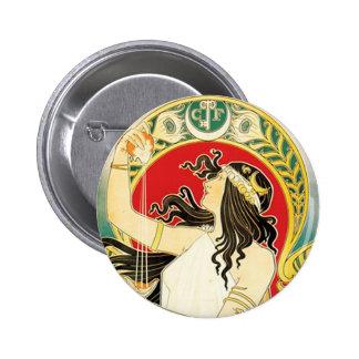 Henri Privat~Livemont ~ Art Nouveau 2 Inch Round Button