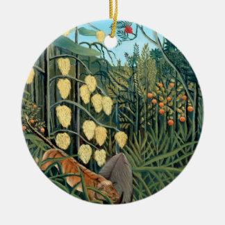 Henri Rousseau - Battling Tiger and Buffalo Ceramic Ornament