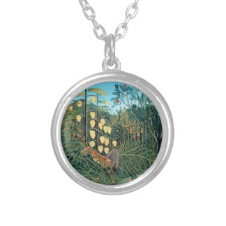 Henri Rousseau - Battling Tiger and Buffalo Silver Plated Necklace