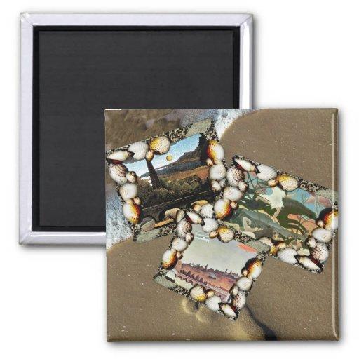 Henri Rousseau Collage 2 Inch Square Magnet
