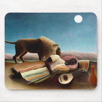Henri Rousseau el cojín de ratón gitano el dormir Mousepads