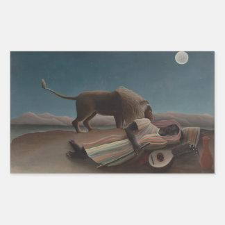 Henri Rousseau - el gitano durmiente Pegatina Rectangular