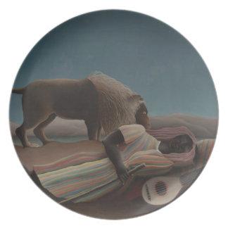 Henri Rousseau - el gitano durmiente Plato De Comida