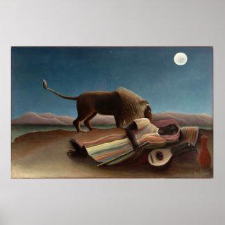 Henri Rousseau el gitano durmiente Póster