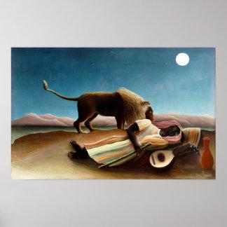 Henri Rousseau el poster gitano el dormir