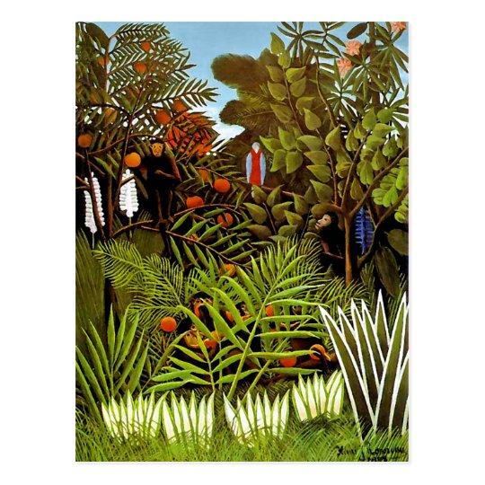 Henri Rousseau - Exotic Landscape Jungle Art Postcard
