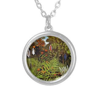 Henri Rousseau - Exotic Landscape Jungle Art Silver Plated Necklace