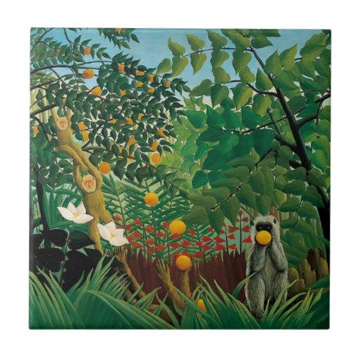 Henri Rousseau Exotic Landscape Tile