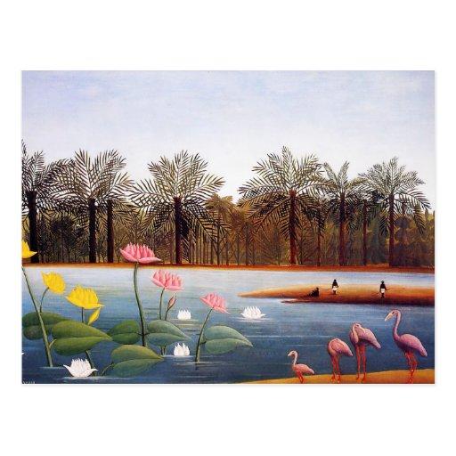 Henri Rousseau Flamingoes Postcard