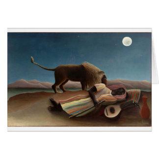 Henri Rousseau la noche gitana de la luna del león Tarjeta De Felicitación