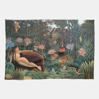 Henri Rousseau la selva del sueño florece arte Toallas De Cocina