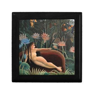 Henri Rousseau la selva del sueño florece la Caja De Regalo Cuadrada Pequeña