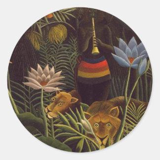 Henri Rousseau la selva del sueño florece la Pegatina Redonda
