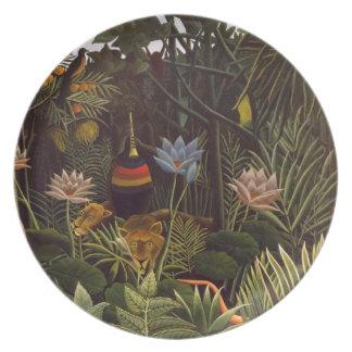 Henri Rousseau la selva del sueño florece la pintu Plato De Comida